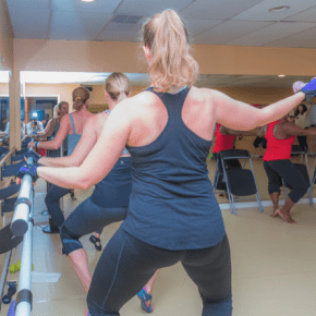 Barre students get an intense workout in class with instructor Shahana